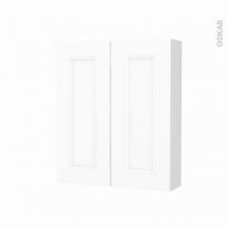 Armoire de toilette - Rangement haut - STATIC Blanc - 2 portes - Côtés décors - L60 x H70 x P17 cm