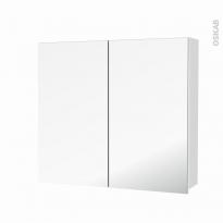 Armoire de toilette - Rangement haut - STATIC Blanc - 2 portes miroir - Côtés décors - L80 x H70 x P17 cm