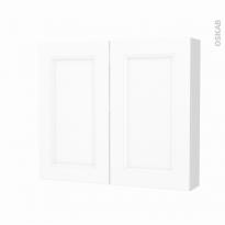 Armoire de toilette - Rangement haut - STATIC Blanc - 2 portes - Côtés décors - L80 x H70 x P17 cm