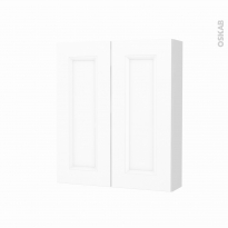 Armoire de toilette - Rangement haut - STATIC Blanc - 2 portes - Côtés blancs - L60 x H70 x P17 cm