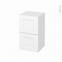 Meuble de salle de bains - Rangement bas - STATIC Blanc - 2 tiroirs 1 tiroir à l'anglaise - L40 x H70 x P37 cm