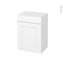 Meuble de salle de bains - Rangement bas - STATIC Blanc - 1 porte 1 tiroir - L50 x H70 x P37 cm