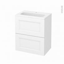 Meuble de salle de bains - Plan vasque REZO - STATIC Blanc - 2 tiroirs - Côtés décors - L60,5 x H71,5 x P40,5 cm