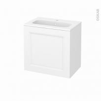 Meuble de salle de bains - Plan vasque REZO - STATIC Blanc - 1 porte - Côtés décors - L60,5 x H58,5 x P40,5 cm