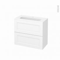 Meuble de salle de bains - Plan vasque REZO - STATIC Blanc - 2 tiroirs - Côtés décors - L80,5 x H71,5 x P40,5 cm