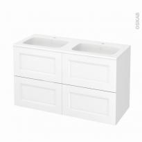 Meuble de salle de bains - Plan double vasque REZO - STATIC Blanc - 4 tiroirs - Côtés décors - L120,5 x H71,5 x P50,5 cm