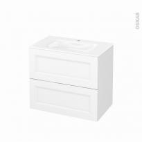 Meuble de salle de bains - Plan vasque VALA - STATIC Blanc - 2 tiroirs - Côtés décors - L80,5 x H71,2 x P50,5 cm