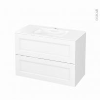Meuble de salle de bains - Plan vasque VALA - STATIC Blanc - 2 tiroirs - Côtés décors - L100,5 x H71,2 x P50,5 cm