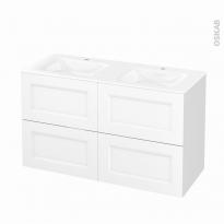 Meuble de salle de bains - Plan double vasque VALA - STATIC Blanc - 4 tiroirs - Côtés décors - L120,5 x H71,2 x P50,5 cm