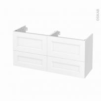 Meuble de salle de bains - Sous vasque double - STATIC Blanc - 4 tiroirs - Côtés blancs - L120 x H57 x P40 cm