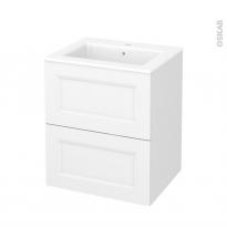 Meuble de salle de bains - Plan vasque NAJA - STATIC Blanc - 2 tiroirs - Côtés décors - L60,5 x H71,5 x P50,5 cm
