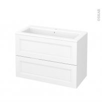 Meuble de salle de bains - Plan vasque NAJA - STATIC Blanc - 2 tiroirs - Côtés décors - L100,5 x H71,5 x P50,5 cm