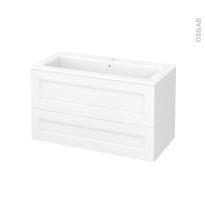 Meuble de salle de bains - Plan vasque NAJA - STATIC Blanc - 2 tiroirs - Côtés décors - L100,5 x H58,5 x P50,5 cm