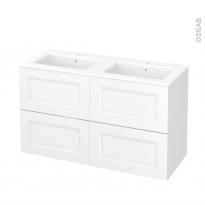 Meuble de salle de bains - Plan double vasque NAJA - STATIC Blanc - 4 tiroirs - Côtés décors - L120,5 x H71,5 x P50,5 cm