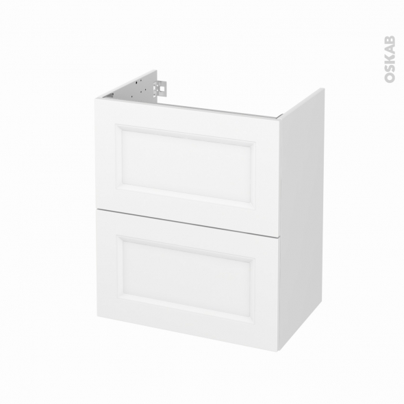 Meuble de salle de bains - Sous vasque - STATIC Blanc - 2 tiroirs - Côtés blancs - L60 x H70 x P40 cm