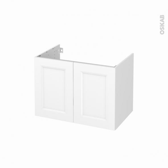 Meuble de salle de bains - Sous vasque - STATIC Blanc - 2 portes - Côtés blancs - L80 x H57 x P50 cm