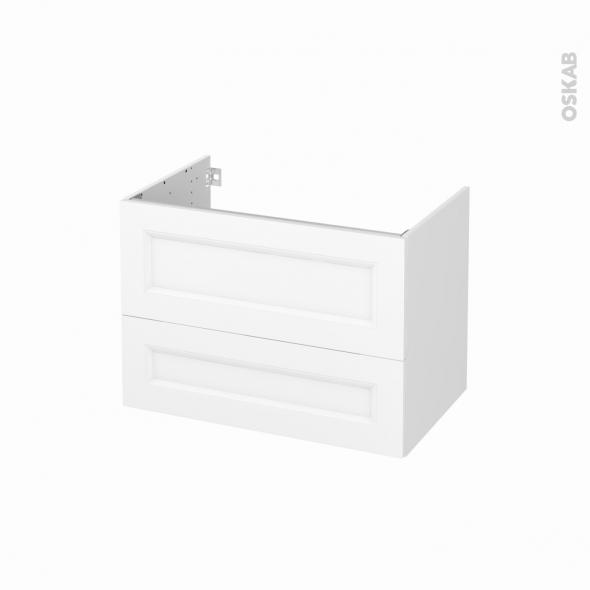 Meuble de salle de bains - Sous vasque - STATIC Blanc - 2 tiroirs - Côtés blancs - L80 x H57 x P50 cm