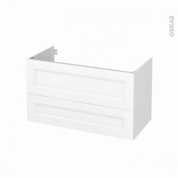 Meuble de salle de bains - Sous vasque - STATIC Blanc - 2 tiroirs - Côtés blancs - L100 x H57 x P50 cm