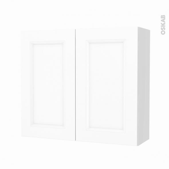 Armoire de salle de bains - Rangement haut - STATIC Blanc - 2 portes - Côtés blancs - L80 x H70 x P27 cm