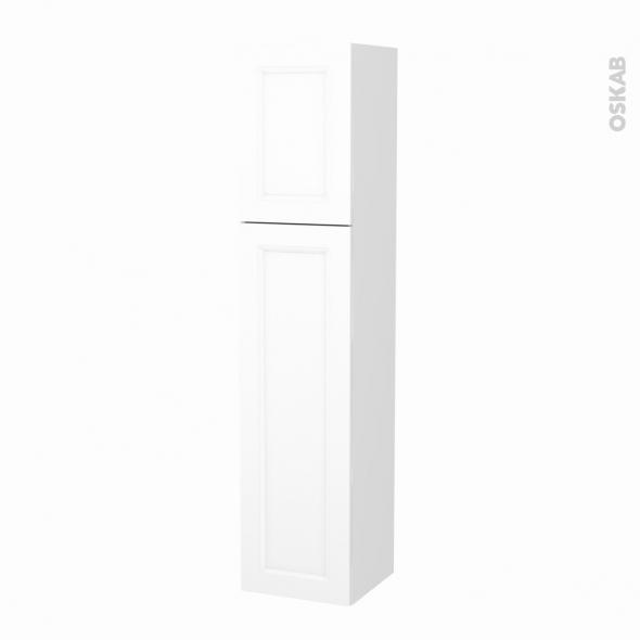 Colonne de salle de bains - 2 portes - STATIC Blanc - Côtés blancs - Version A - L40 x H182 x P40 cm