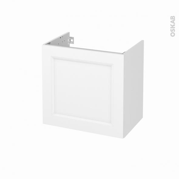 Meuble de salle de bains - Sous vasque - STATIC Blanc - 1 porte - Côtés décors - L60 x H57 x P40 cm