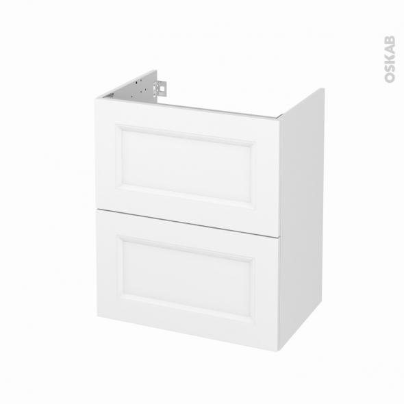 Meuble de salle de bains - Sous vasque - STATIC Blanc - 2 tiroirs - Côtés décors - L60 x H70 x P40 cm