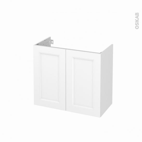 Meuble de salle de bains - Sous vasque - STATIC Blanc - 2 portes - Côtés décors - L80 x H70 x P40 cm