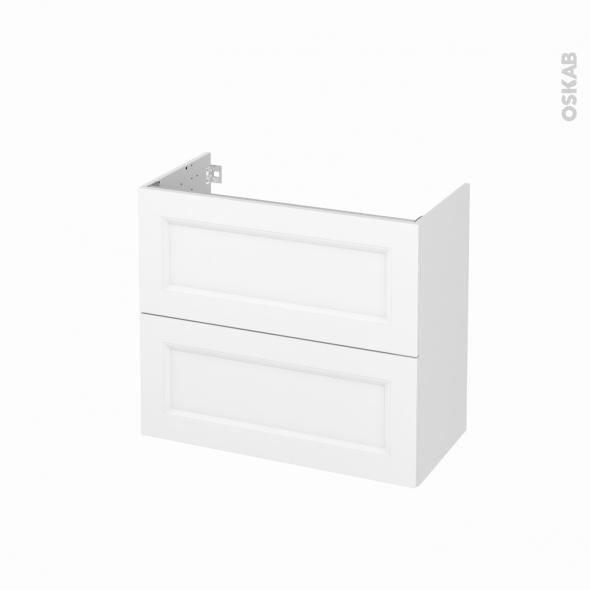 Meuble de salle de bains - Sous vasque - STATIC Blanc - 2 tiroirs - Côtés décors - L80 x H70 x P40 cm