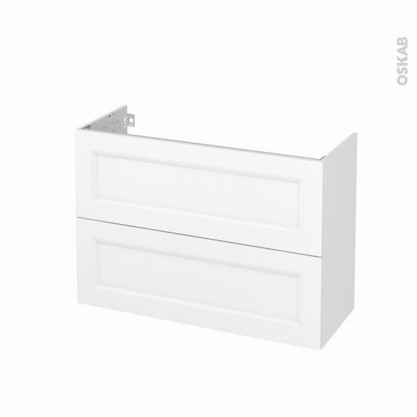 Meuble de salle de bains - Sous vasque - STATIC Blanc - 2 tiroirs - Côtés décors - L100 x H70 x P40 cm