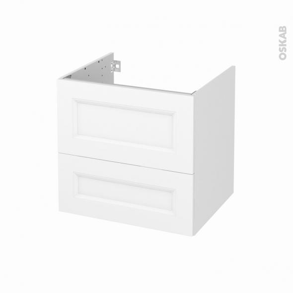 Meuble de salle de bains - Sous vasque - STATIC Blanc - 2 tiroirs - Côtés décors - L60 x H57 x P50 cm