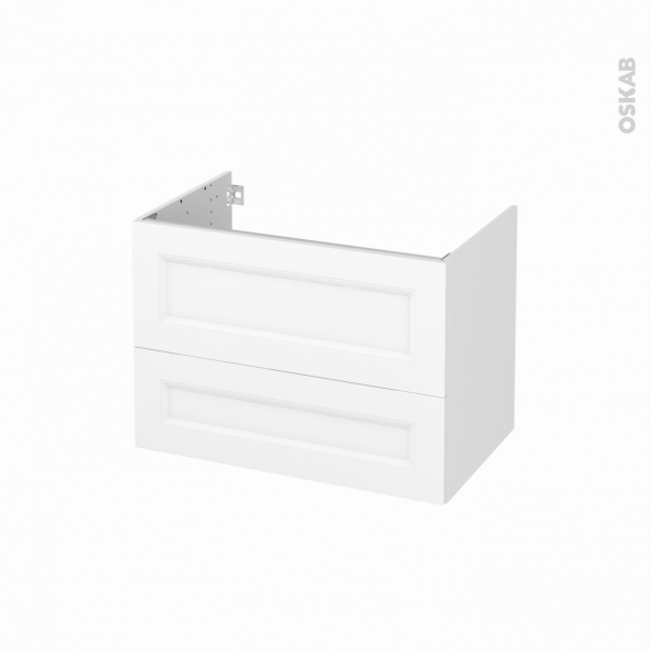 Meuble de salle de bains - Sous vasque - STATIC Blanc - 2 tiroirs - Côtés décors - L80 x H57 x P50 cm
