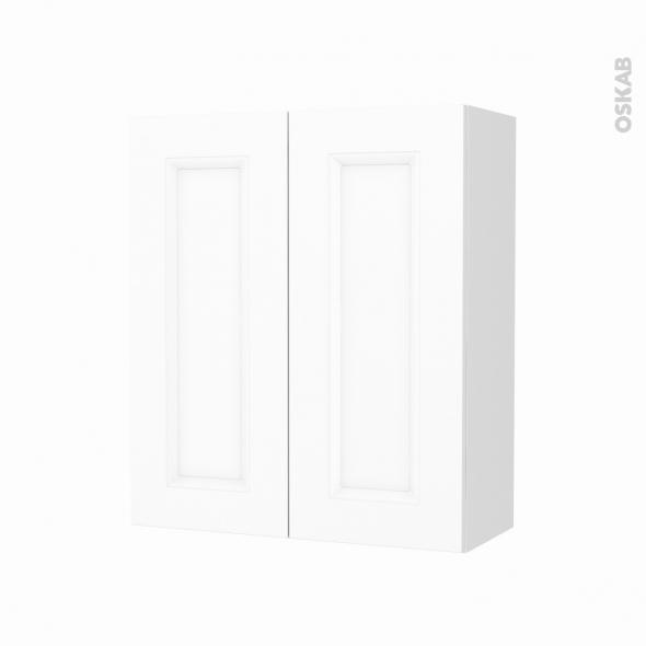 Armoire de salle de bains - Rangement haut - STATIC Blanc - 2 portes - Côtés décors - L60 x H70 x P27 cm