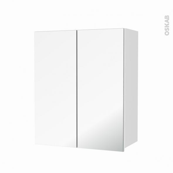 Armoire de salle de bains - Rangement haut - STATIC Blanc - 2 portes miroir - Côtés décors - L60 x H70  xP27 cm