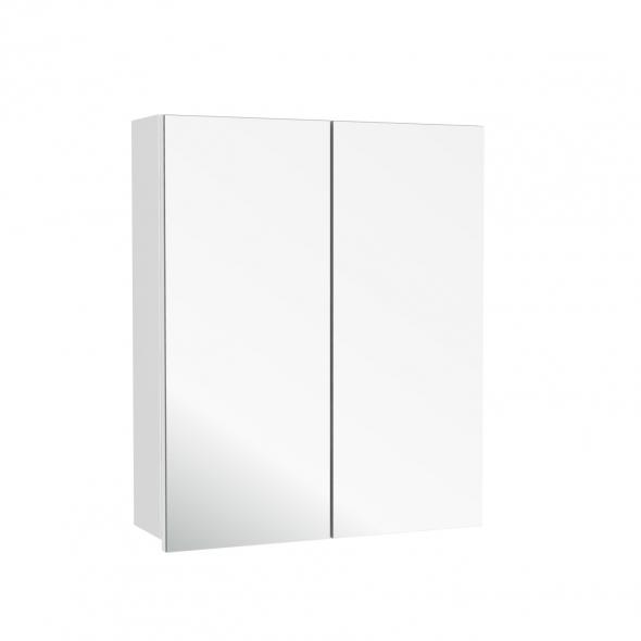 Armoire de toilette - Rangement haut - STATIC Blanc - 2 portes miroir - Côtés décors - L60 x H70 x P17 cm
