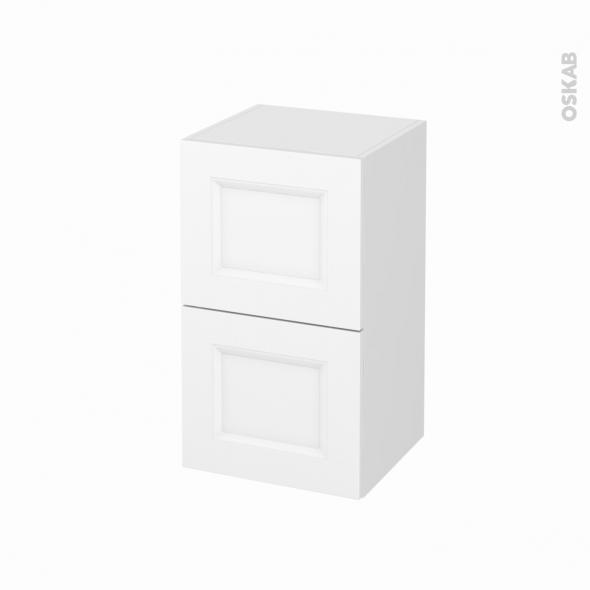 Meuble de salle de bains - Rangement bas - STATIC Blanc - 2 tiroirs - L40 x H70 x P37 cm