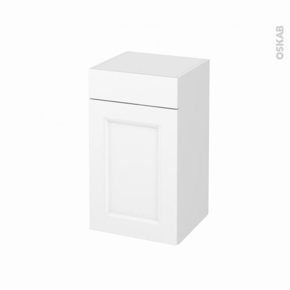 Meuble de salle de bains - Rangement bas - STATIC Blanc - 1 porte 1 tiroir - L40 x H70 x P37 cm