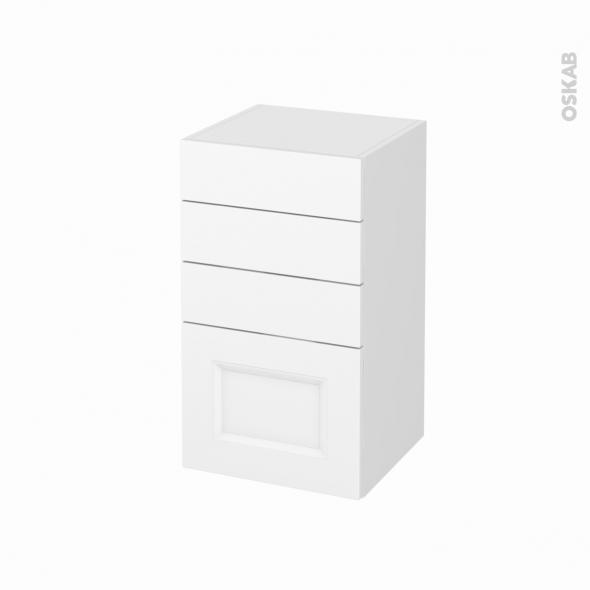 Meuble de salle de bains - Rangement bas - STATIC Blanc - 4 tiroirs - L40 x H70 x P37 cm