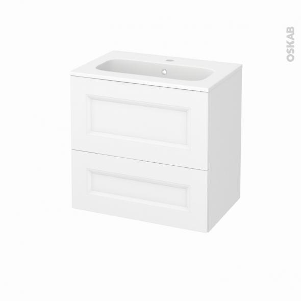 Meuble de salle de bains - Plan vasque REZO - STATIC Blanc - 2 tiroirs - Côtés décors - L60,5 x H58,5 x P40,5 cm