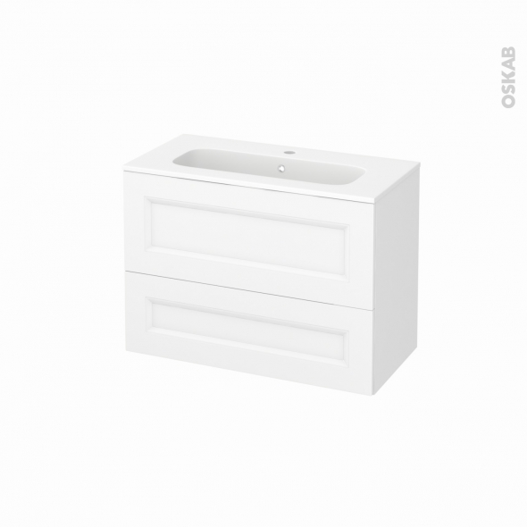 Meuble de salle de bains - Plan vasque REZO - STATIC Blanc - 2 tiroirs - Côtés décors - L80,5 x H58,5 x P40,5 cm