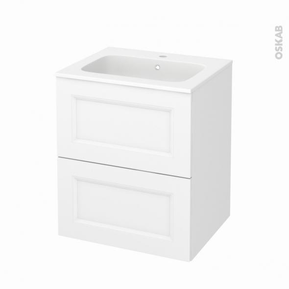 Meuble de salle de bains - Plan vasque REZO - STATIC Blanc - 2 tiroirs - Côtés décors - L60,5 x H71,5 x P50,5 cm