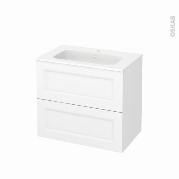Meuble de salle de bains - Plan vasque REZO - STATIC Blanc - 2 tiroirs - Côtés décors - L80,5 x H71,5 x P50,5 cm