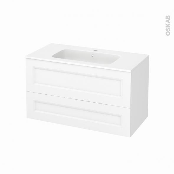 Meuble de salle de bains - Plan vasque REZO - STATIC Blanc - 2 tiroirs - Côtés décors - L100,5 x H58,5 x P50,5 cm