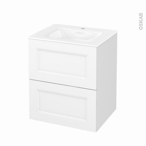 Meuble de salle de bains - Plan vasque VALA - STATIC Blanc - 2 tiroirs - Côtés décors - L60,5 x H71,2 x P50,5 cm