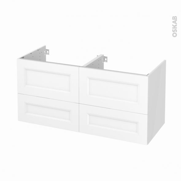 Meuble de salle de bains - Sous vasque double - STATIC Blanc - 4 tiroirs - Côtés blancs - L120 x H57 x P50 cm