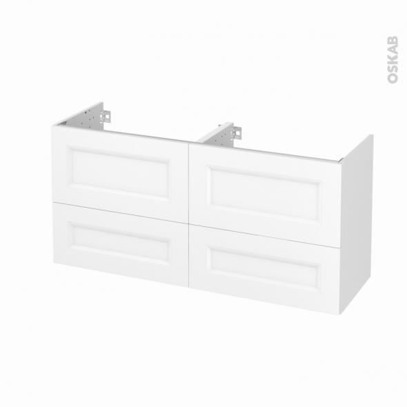 Meuble de salle de bains - Sous vasque double - STATIC Blanc - 4 tiroirs - Côtés décors - L120 x H57 x P40 cm
