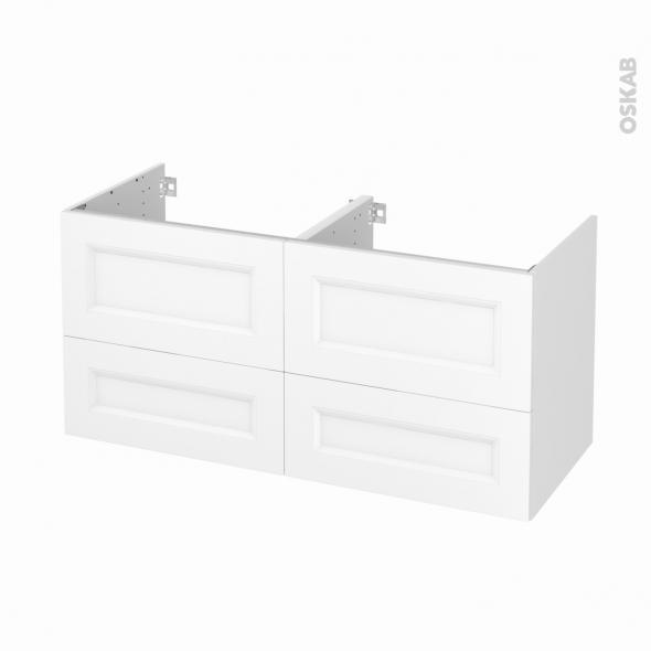 Meuble de salle de bains - Sous vasque double - STATIC Blanc - 4 tiroirs - Côtés décors - L120 x H57 x P50 cm