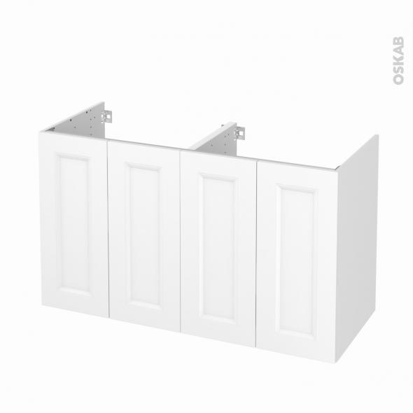 Meuble de salle de bains - Sous vasque double - STATIC Blanc - 4 portes - Côtés décors - L120 x H70 x P50 cm