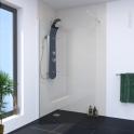 Paroi de douche à l'italienne - 120 cm - Verre transparent 8 mm - 1 barre de fixation - profilés chromés - ATLAS 2