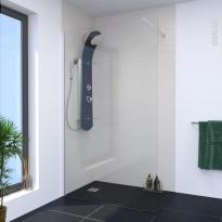 Paroi de douche à l'italienne - 120 cm - Verre transparent 8 mm - 1 barre de fixation - ATLAS 2