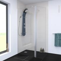 Paroi de douche - à l'italienne ATLAS - 90 cm + volet pivotant 45 cm - Verre transparent 6 mm